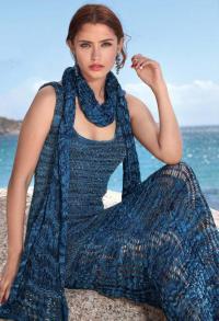 Как связать спицами длинное ажурное платье-майка в пол и шарф