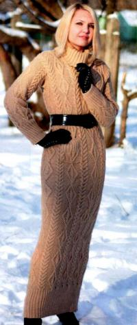 Как связать спицами длинное платье в пол с большим воротником
