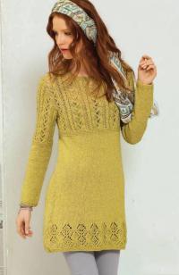 Как связать спицами короткое платье с ажурным узором и косами