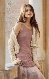Как связать спицами платье с ажурной юбкой и жакет