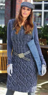 Как связать спицами платье с ажурными узорами
