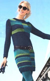 Как связать спицами платье с цветным геометрическим рисунком