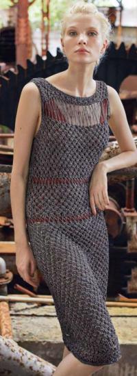 Как связать спицами платье-майка с сетчатым рисунком