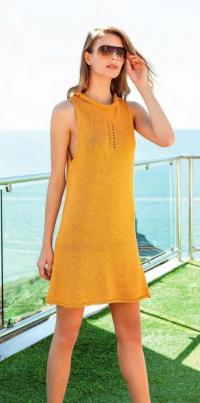 Как связать спицами платье без рукавов платочной вязкой