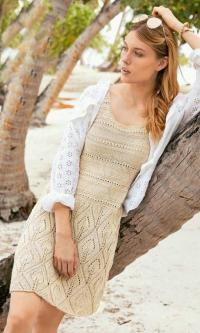 Как связать спицами платье-сарафан на бретелях с ажурными листьями
