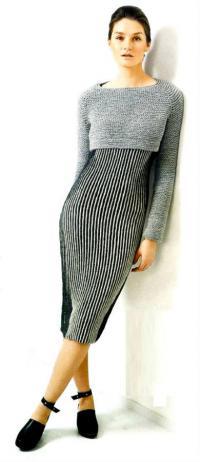 Как связать спицами платье с вертикальными полосами на бретелях