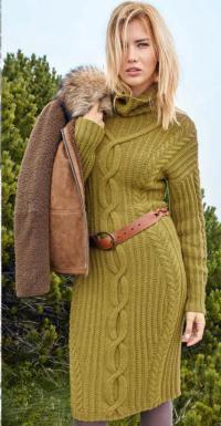 Как связать спицами теплое облегающее платье с крупными косами