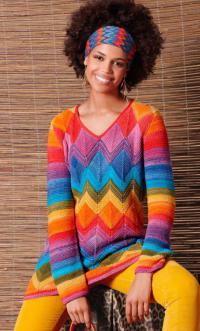 Как связать спицами туника с этническими цветными орнаментами