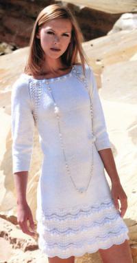 Как связать спицами узорчатое платье с рукавом реглан