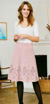 Как связать спицами юбка с ажурной окантовкой