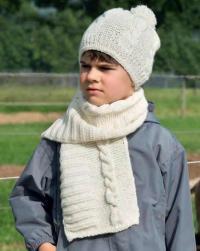 Как связать  детский шарф и шапочка с косами и помпоном