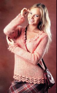 Как связать спицами абрикосовый пуловер с ажурной каймой