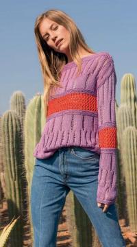Как связать спицами ажурный пуловер с контрастной вставкой