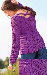 Как связать спицами ажурный пуловер с переплетениями на спине
