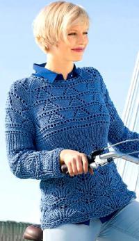 Как связать спицами ажурный пуловер с рукавом реглан