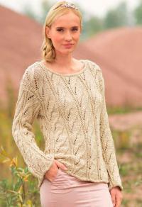 Как связать спицами ажурный пуловер с вертикальным узором из кос