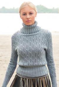 Как связать спицами ажурный свитер с высоким воротником