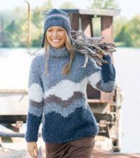 Как связать спицами цветной мохеровый свитер и шапочка с ушками