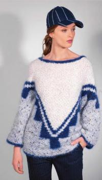 Как связать спицами цветной пуловер оверсайз с графическим рисунком