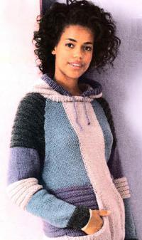 Как связать спицами цветной свитер с спортивном стиле с капюшоном