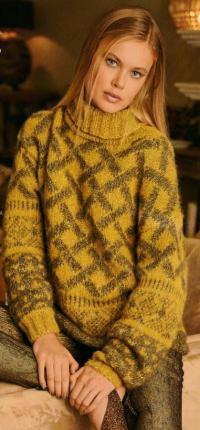 Как связать спицами цветной свитер с высоким воротником