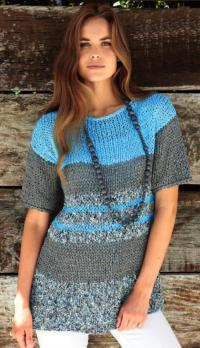 Как связать спицами длинный полосатый пуловер с рукавом 3\4