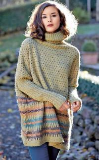 Как связать спицами длинный свободный свитер с рисунком