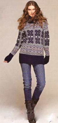 Как связать спицами длинный жаккардовый пуловер
