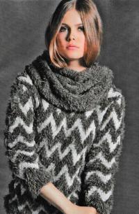 Как связать спицами двухцветный пуловер с жаккардовым узором