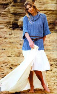 Как связать спицами голубой джемпер с широкими рукавами