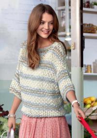Как связать спицами хлопковый ажурный пуловер со широкими рукавами