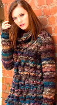 Как связать спицами меланжевый свитер с крупными косами