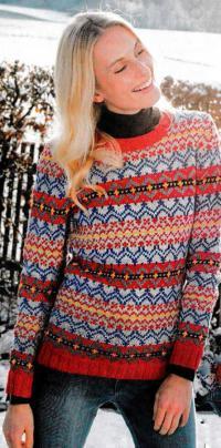 Как связать спицами многоцветный жаккардовый свитер