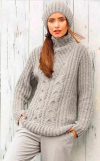 Как связать спицами объемный пуловер и шапка с косами