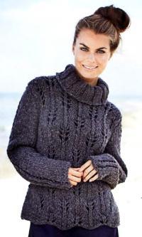 Как связать спицами объемный свитер с ажурным узором