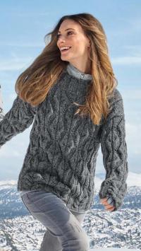Как связать спицами объемный свитер с ромбами