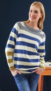 Как связать спицами полосатый классический пуловер