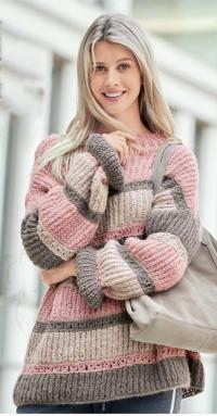 Как связать спицами полосатый пуловер оверсайз