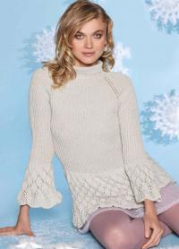 Как связать спицами пуловер с ажурной баской и расклешенными рукавами