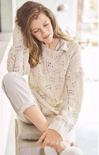 Как связать спицами пуловер с ажурными квадратами пастельных тонов