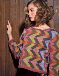 Как связать спицами пуловер с геометрическим цветным узором