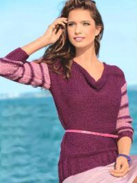 Как связать спицами пуловер с каскадным воротником