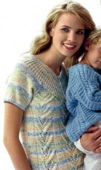 Как связать спицами пуловер с кокеткой и ажурным узором