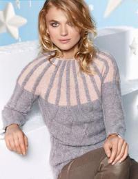 Как связать спицами пуловер с кокеткой и вертикальными полосами