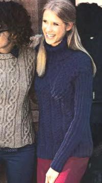 Как связать спицами пуловер с косами и большим воротником