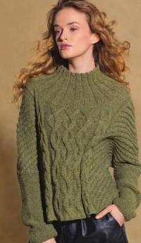 Как связать спицами пуловер с круглой кокеткой и косами