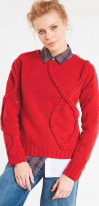 Как связать спицами пуловер с ложной «косой»