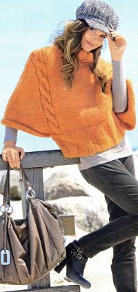 Как связать спицами пуловер - пелерина