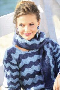 Как связать спицами пуловер и шарф с волнистым узором
