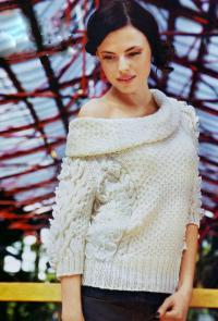 Как связать спицами пуловер с широким воротником